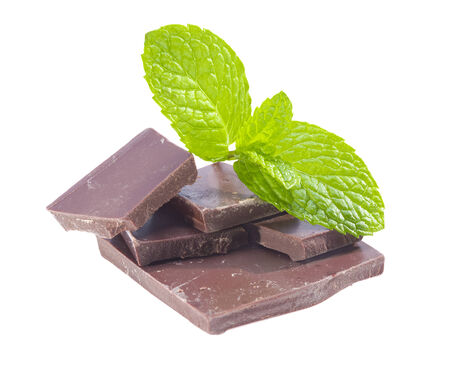 chocolate mint: Dark chocolate with peppermint isolated on white background.  Stock Photo