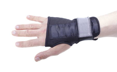 Snowboarding wrist guard isolated on white background.