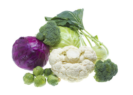 Cabbage collection isolated on white background . photo