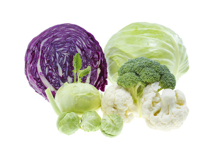 Cabbage collection isolated on white background . Stock Photo