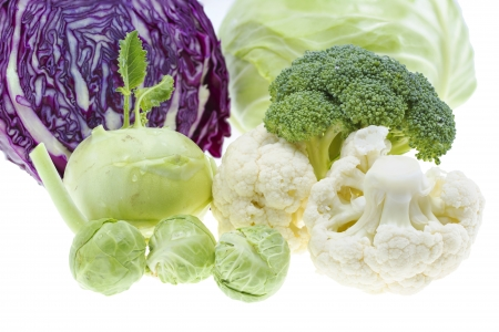 Cabbage collection isolated on white background . Imagens