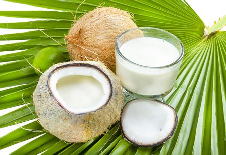 牛乳中のヤシの葉の上で開いているココナッツ。