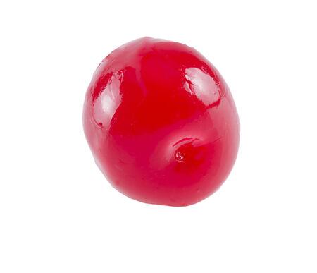 Maraschino aka cocktail cherry isolated on white backgrund.