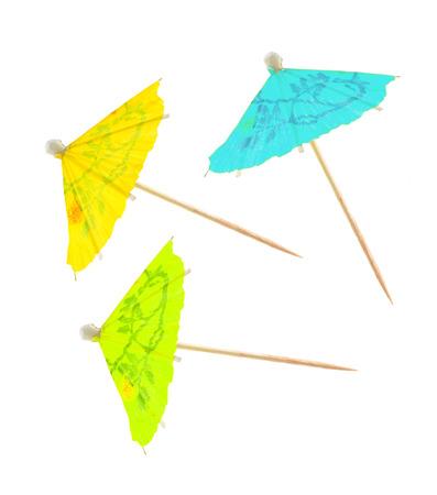 紙のパーティー日傘ホワイト バック グラウンド上に分離されて。 写真素材