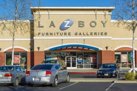 furniture store: SACRAMENTO, USA - DECEMBER 21:   La-Z-Boy store entrance on December 21, 2013 in Sacramento, California. La-Z-Boy, Inc. is a furniture manufacturer based in Monroe, Michigan, USA.