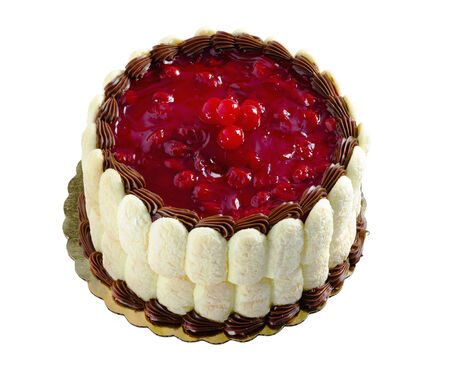 桜の黒い森のケーキは、白い背景で隔離。 写真素材