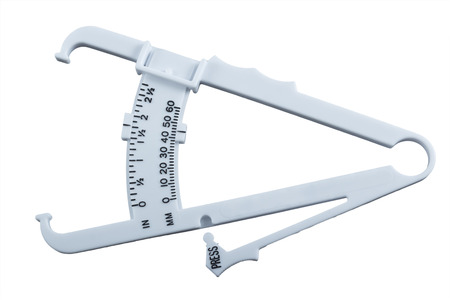 Body fat measuring calipers isolated on white background.