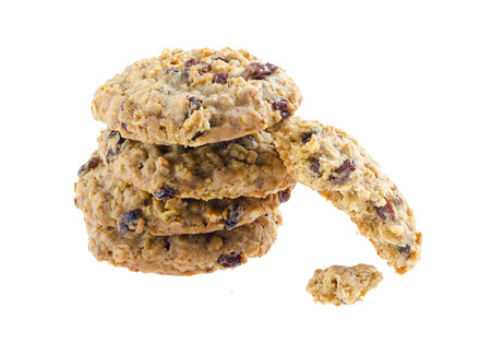 American style oatmeal rising cookies isolated on white background. Standard-Bild