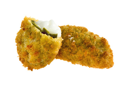 Jalapeno poppers with cheese  isolated on white background Standard-Bild