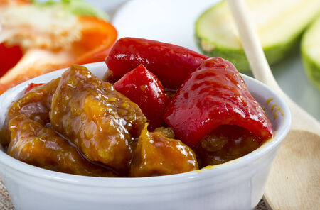 Traditional chinese sweet and sour pork dish.
