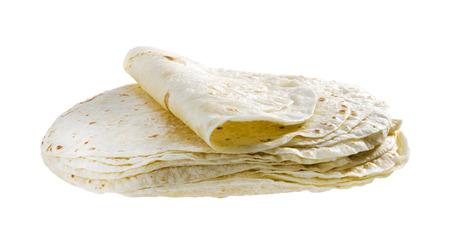 小麦粉は、白い背景で隔離のトルティーヤをラウンドします。 写真素材