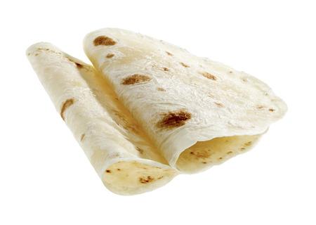 corn tortilla: Flour round tortilla isolated on white background. Stock Photo