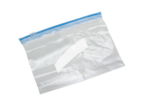 zip: clear plastic bag with lock isolated on white background