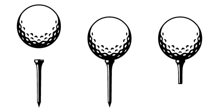 Set: Golf ball on tee - several versions  black and white  vector  icon