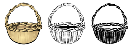 Three Variants Of A Wooden Basket / Vector, Isolated Stock Illustratie