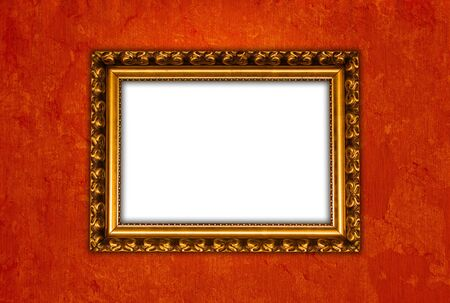 Red wall with picture frame