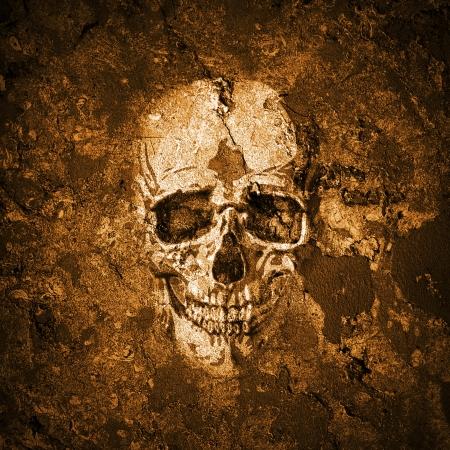 tete de mort: Grunge mur avec un cr�ne Banque d'images
