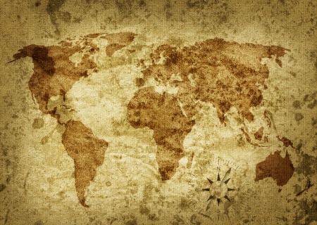 Old grungy map of the world Stock Photo