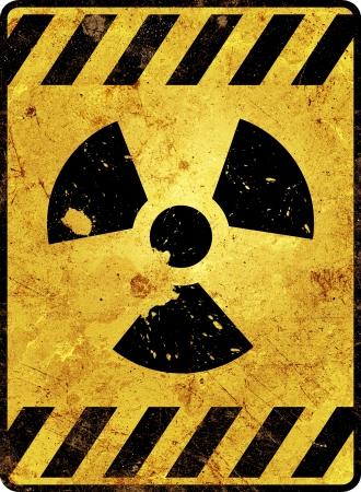 sustancias toxicas: Radioactividad señal de advertencia amarilla Foto de archivo