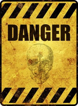 danger: Giallo segnale di avvertimento pericolo Archivio Fotografico