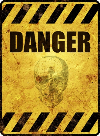 Yellow danger warning sign photo