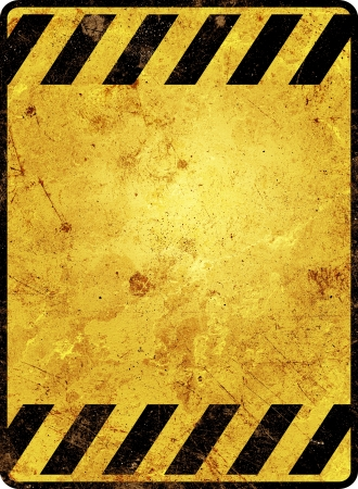 An rusty warning sign template in yellow and black