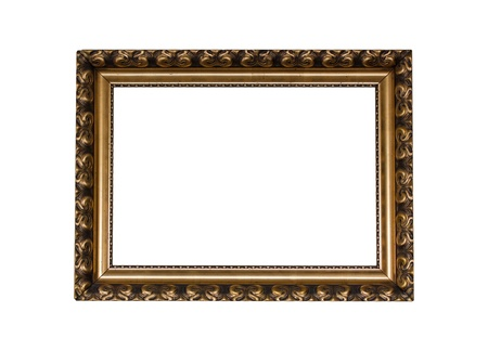 Golden vintage picture frame with white background
