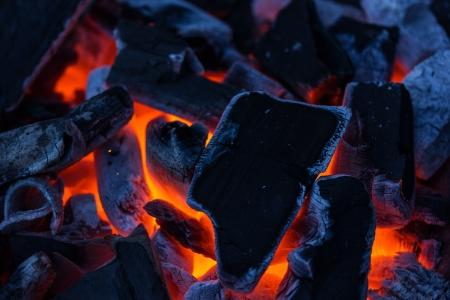 Hot burning coal in the dark