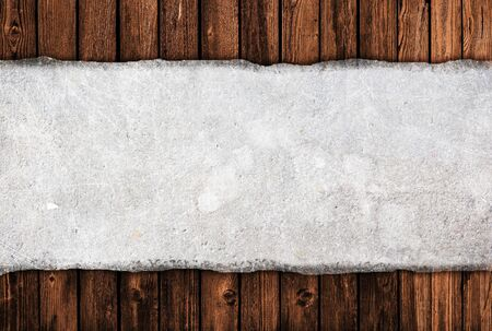 wall paper texture: Old banner on wooden background Stock Photo