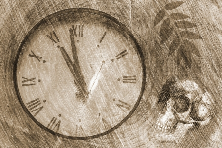 Grunge background with old clock Stock Photo - 16404083