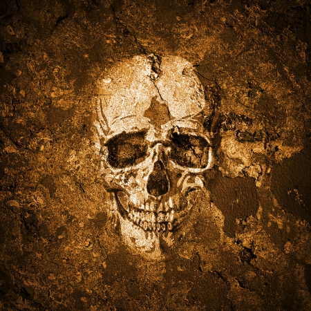 Halloween background with grunge wall and skull photo