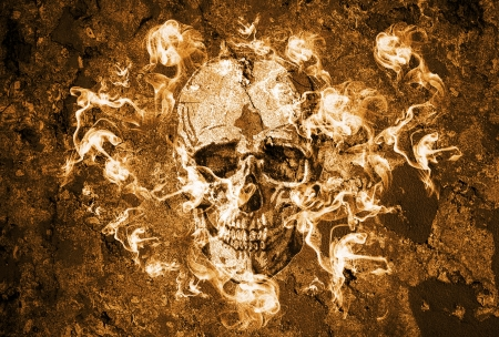 fire skull: Halloween background with grunge wall and skull