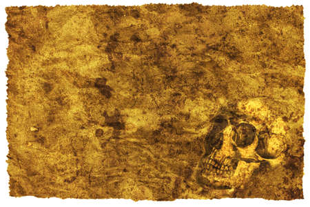 fire skull: Old treasure map with a skull Stock Photo
