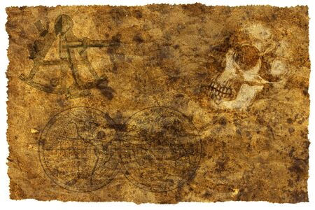 Old treasure map with a skull photo