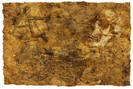 carte trésor: Vieille carte au trésor avec un crâne