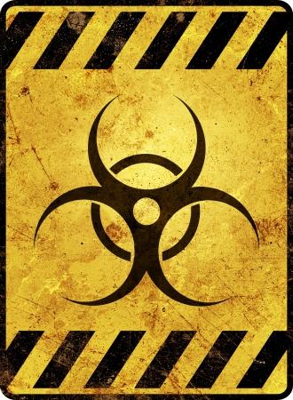 riesgo biologico: Muestra amarilla de advertencia de riesgo biol�gico