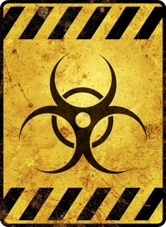 Yellow biohazard warning sign Stock Photo