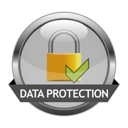 개인 정보 보호: 버튼 데이터 보호 일러스트