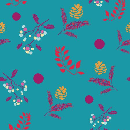 Vector bohemian christmas purple balls, pink branches, red leaves and golden pine cone, seamless pattern Ilustrace