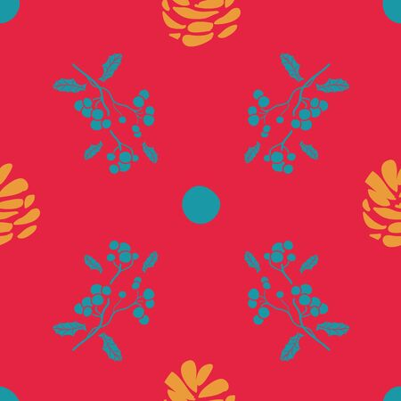 Vector bohemian christmas turquoise balls and branches, golden pine cone, red background seamless repeat pattern