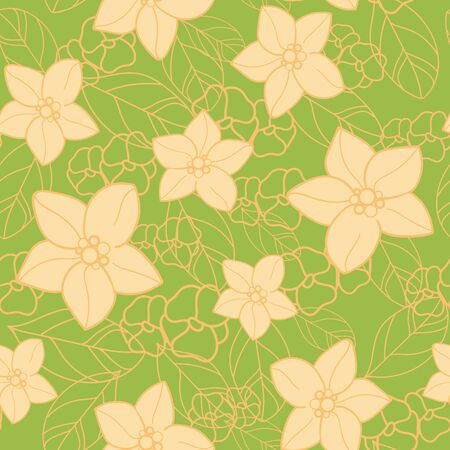 Vector orange blossom with yellow flowers and leaves, orange slices, seamless repeat pattern