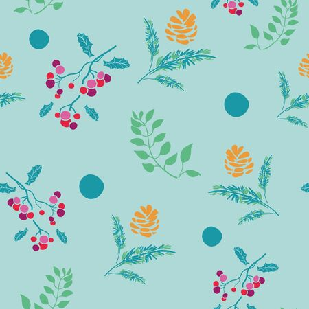 Vector bohemian christmas turquoise balls, branches, green leaves, pink berry, golden pine cone, blue background, seamless repeat pattern. Perfect for fabric, scrapbooking, wallpaper projects.