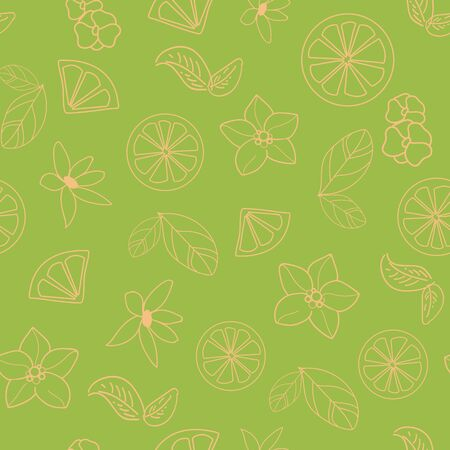 Vector orange blossom with yellow flowers, leaves, orange slices, seamless repeat pattern