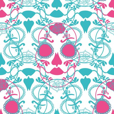 Vector glamourous Halloween seamless pattern with pink and turquoise skull. Perfect for fabric, scrapbooking, wallpaper projects. Standard-Bild - 134645823