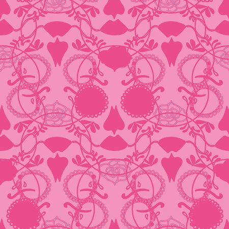 Vector glamourous Halloween with pink skull seamless repeat pattern. Perfect for fabric, scrapbooking, wallpaper projects. Standard-Bild - 134645826