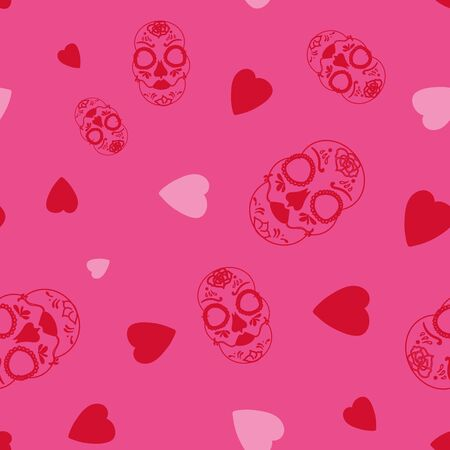 Vector glamourous Halloween with red skull and pink hearts seamless repeat pattern. Perfect for fabric, scrapbooking, wallpaper projects. Standard-Bild - 134822503