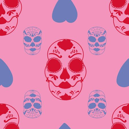 Vector glamourous Halloween with red and purple skull and pink background seamless repeat pattern. Perfect for fabric, scrapbooking, wallpaper projects. Standard-Bild - 134822505