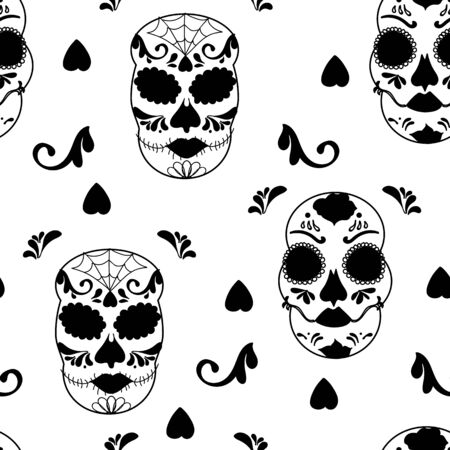 Vector glamourous Halloween with black and white skull seamless repeat pattern. Perfect for fabric, scrapbooking, wallpaper projects. Standard-Bild - 134822507
