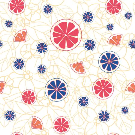 Vector orange blossom seamless pattern with blue and orange citrus slices, yellow leaves, white background. Perfect for fabric, scrapbooking, wallpaper projects. 일러스트