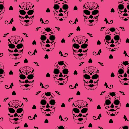 Vector glamourous Halloween with black skull and pink background seamless repeat pattern. Perfect for fabric, scrapbooking, wallpaper projects. Standard-Bild - 134822514